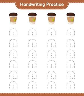 Pratique de l'écriture manuscrite. tracer des lignes de tasse de thé. jeu éducatif pour enfants, feuille de calcul imprimable, illustration vectorielle