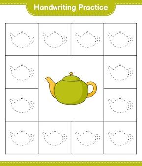 Pratique de l'écriture manuscrite tracer des lignes de théière feuille de travail imprimable pour le jeu éducatif pour enfants