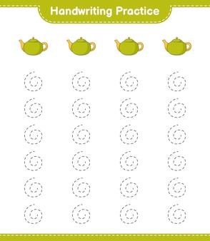 Pratique de l'écriture manuscrite. tracer des lignes de théière. jeu éducatif pour enfants, feuille de calcul imprimable, illustration vectorielle