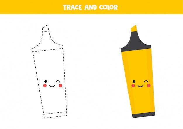 Pratique de l'écriture pour les enfants d'âge préscolaire avec un joli surligneur kawaii.