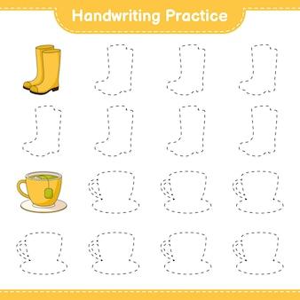 Pratique de l'écriture tracer des lignes de bottes en caoutchouc et de tasse de thé jeu éducatif pour enfants