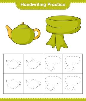 Pratique de l'écriture tracer des lignes d'écharpe et de théière jeu éducatif pour enfants