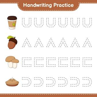 Pratique de l'écriture tracer des lignes de tarte à la tasse de thé au gland et de cèpes aux champignons