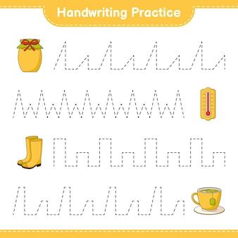 Pratique de l'écriture tracer des lignes de thermomètre bottes en caoutchouc tasse à thé et confiture