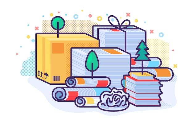 Pratique mondiale de l'icône de concept de traitement de déchets de papier. recyclage des déchets de papier et carton idée illustration semi-plate. conservation des forêts et de la nature. dessin de couleur de conception isolée