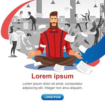 Pratiquer le yoga au travail vecteur bannière web