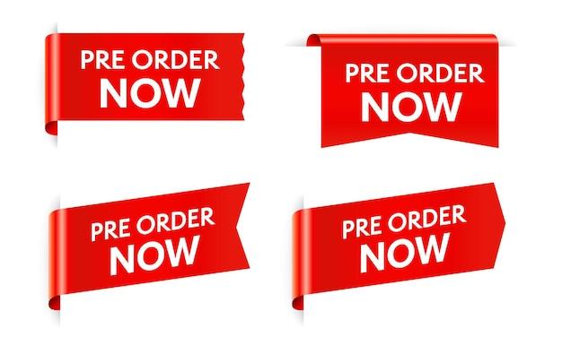 Pré-commander maintenant tag autocollant rouge isolé sur blanc