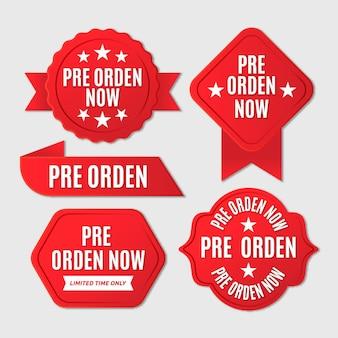 Précommander La Collection De Badges Vecteur gratuit
