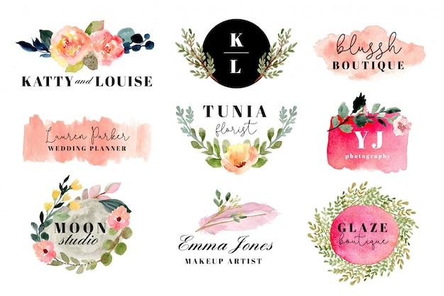 Premade logo avec collection d'aquarelles de coups floraux et pinceau.