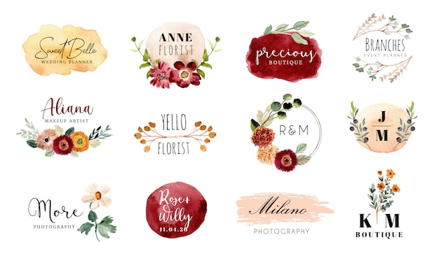 Premade logo floral et coup de pinceau aquarelle collection