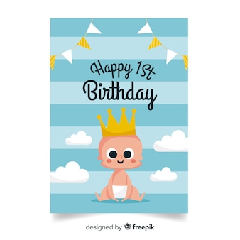 Premier anniversaire bébé prince salutation