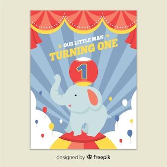 Premier anniversaire éléphant voeux de cirque