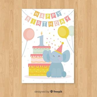 Premier anniversaire voeux confetti éléphant