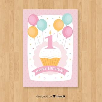 Premier anniversaire voeux de petit gâteau