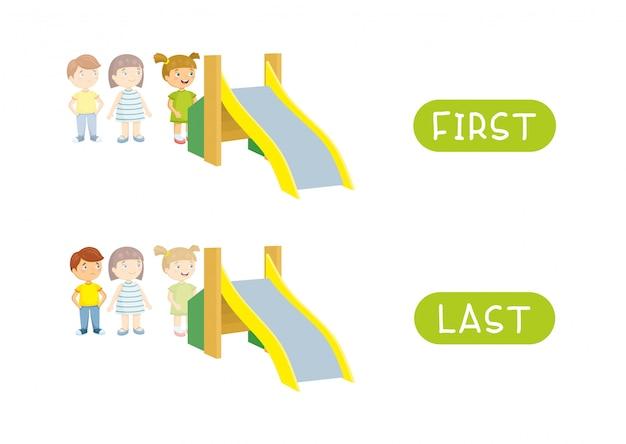 Premier et dernier. antonymes de vecteur. premier, dernier et opposés. illustration de personnages de dessins animés