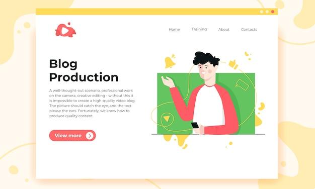 Premier écran du site de production de blogs.