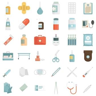 Premier jeu d'icônes d'aide médicale. ensemble plat d'icônes vectorielles de premiers soins médicaux isolés sur fond blanc