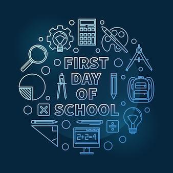 Premier jour d'école vecteur rond illustration bleue fine ligne