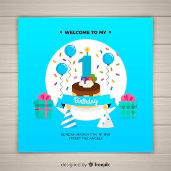 Premier modèle de carte de fête d'anniversaire