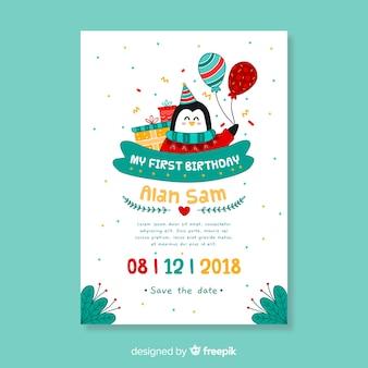 Premier modèle de carte pingouin dessiné main anniversaire