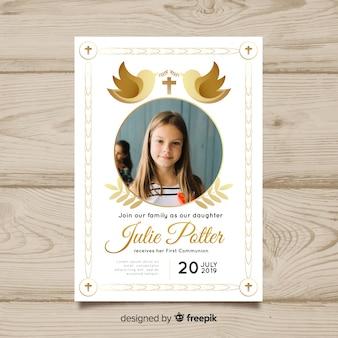 Premier modèle d'invitation de communion avec hoto