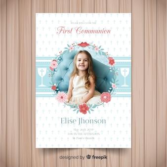 Premier modèle d'invitation de communion avec photo