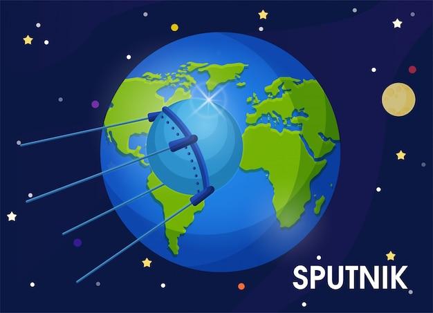 Le premier satellite de l'union soviétique a été envoyé en orbite autour de la terre.