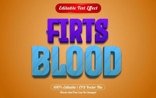 Premier style de jeux d'effets de texte modifiables par le sang
