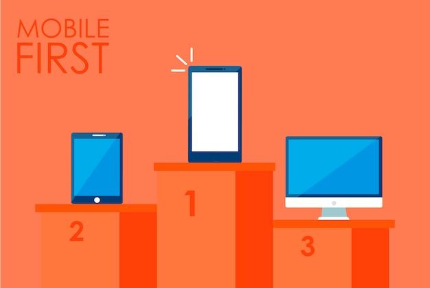 Première bannière de stratégie mobile. téléphone avec ordinateur portable et autre.