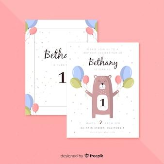 Première carte d'invitation d'anniversaire