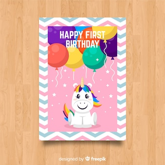 Première carte d'invitation de fête d'anniversaire