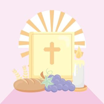 Première carte postale de communion avec des icônes