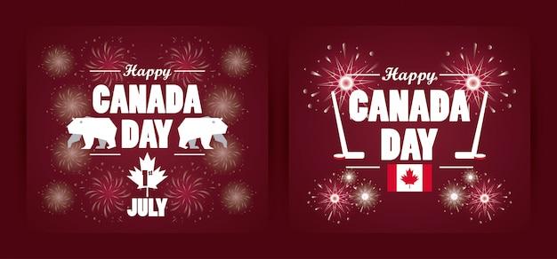 Première carte de voeux de célébration de la fête du canada de juillet avec équipement de sport de hockey