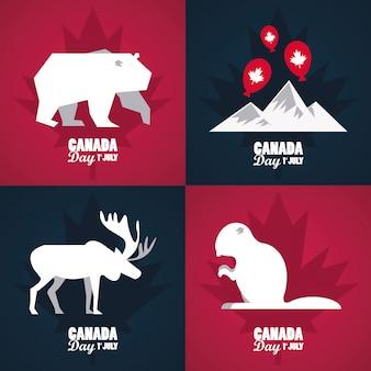 Première carte de voeux de célébration de la fête du canada de juillet avec des montagnes et des animaux
