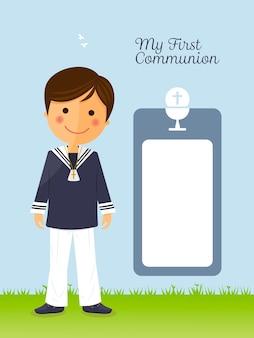 Première communion enfant sur carte verticale