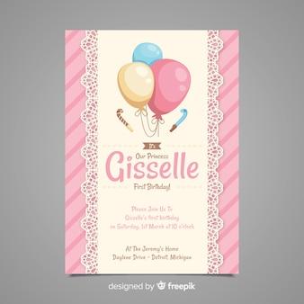 Première invitation de ballons de dentelle d'anniversaire
