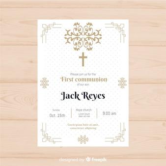 Première invitation de communion en pointillés