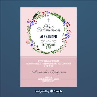 Première invitation de guirlande florale de communion