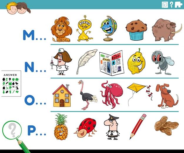 Première lettre d'un mot tâche éducative pour les enfants