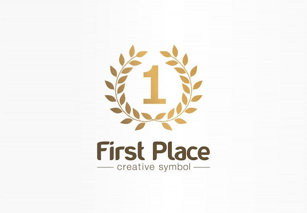 Première place, numéro un, concept de symbole créatif de couronne de laurier d'or. trophée, idée de logo d'entreprise abstraite de prix. prix, victoire, icône du gagnant