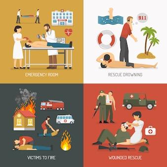 Premiers soins concept 4 icônes plates