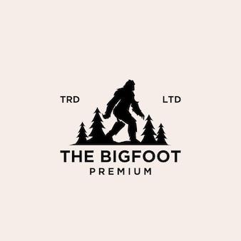 Premium big foot yeti logo icône illustration design