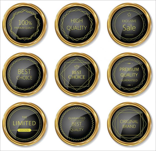 Premium, collection d'étiquettes vintage rétro de qualité