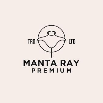 Premium manta stingray logo design animal vecteur simple graphique noir