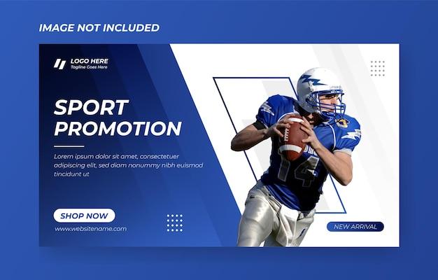 Premium modèle de conception de bannière de sport bleu conception de bannière vecteur