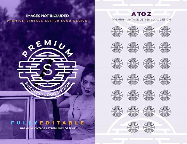 Premium vintage a à z logo de toutes les lettres