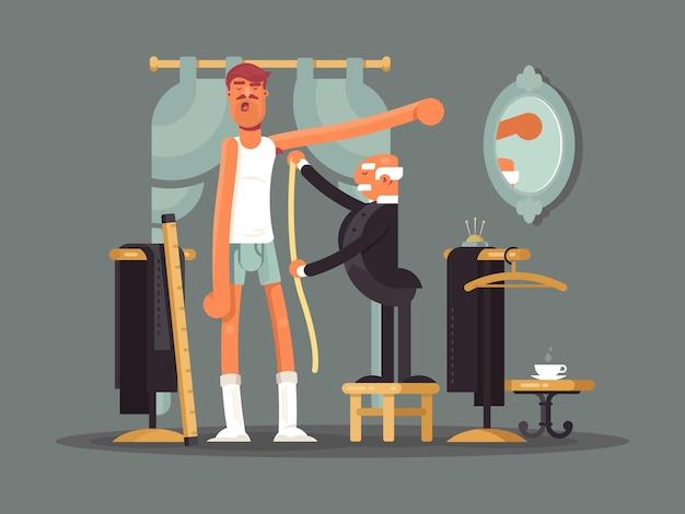 Prendre des mesures au magasin de tailleur. couture, illustration vectorielle de vêtements personnalisés.