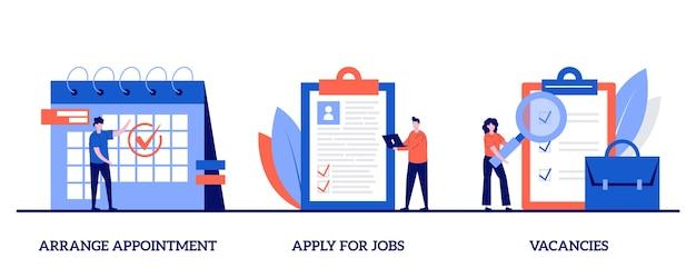 Prendre rendez-vous, postuler à des emplois, concept de postes vacants avec caractère