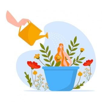 Prendre soin de la nature, belle femme en fleurs en pot, plantes vivantes, flore, isolé sur blanc, design, illustration de style plat.