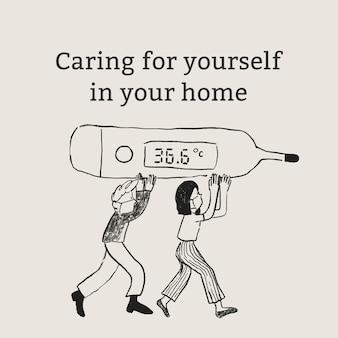 Prendre soin de vous vecteur de modèle dans votre publicité sur les réseaux sociaux de soins de santé à domicile